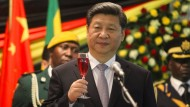 Chinas Präsident Xi Jingping auf Staatsbesuch in Simbabwe Anfang des Monats.
