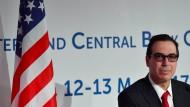 Der amerikanische Finanzminister Steven Mnuchin bei der Pressekonferenz des G7-Gipfels der Finanzminister in Bari
