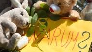 Zeichen der Trauer: Anwohner legten am Ufer des Dorfteiches Blumen und Stofftiere ab.