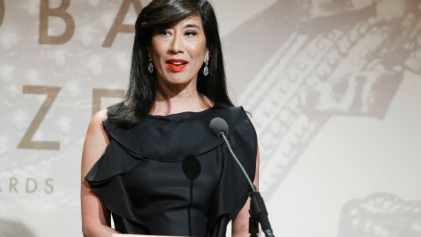 File photo of Andrea Jung, CEO of Avon Products Inc., accepting the Leadership in the Corporate Sector award in New York