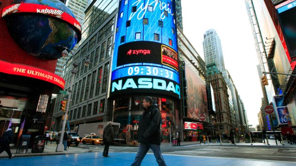 The corporate logo for Zynga is seen on the board outside the Nasdaq Market Site in New York'sTimes Square
