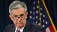 Strenger Blick: Fed-Chef Jerome Powell nach der Ankündigung, dass Amerikas Notenbank bald die Zinsen senken wird.