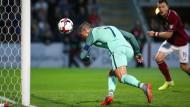 Tor für Portugal: Christiano Ronaldo köpft ein.