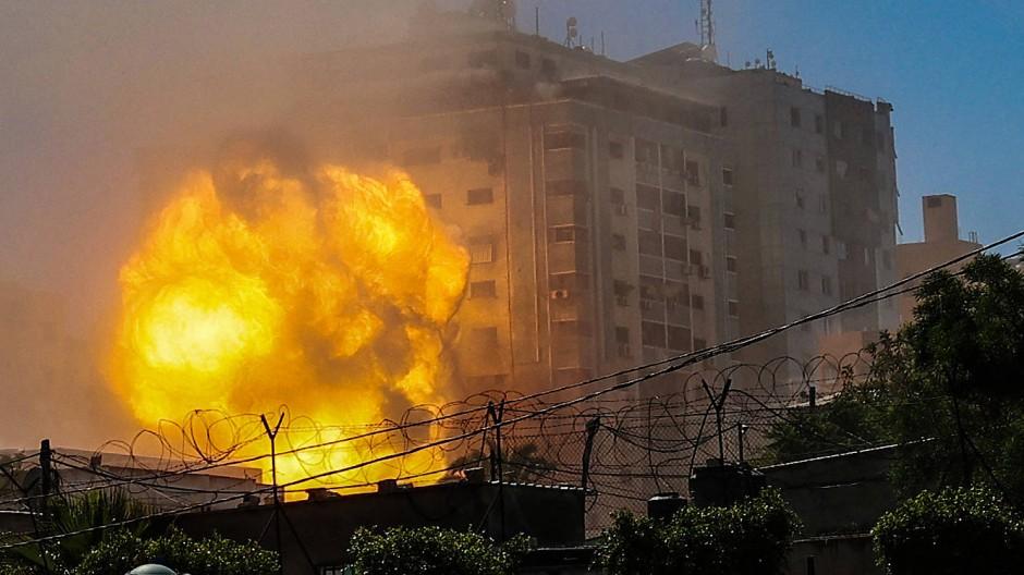"""Zerstörtes Hochhaus in Gaza: Im """"Jala"""" sollen Mitglieder der Hamas gelebt haben."""