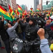 Bolivianer feiern in La Paz den Rücktritt von Präsident Evo Morales.