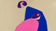 Damen in Pink und Blau – Collage von Emil Pirchan, um 1912