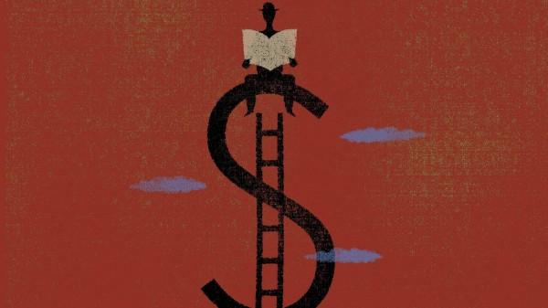 Erfolgreicher Mann sitzt auf Dollarzeichen
