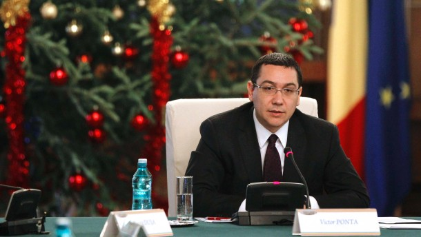 Romania's Prime Minister Victor Ponta heads a government meeting at Victoria palace in Bucharest