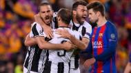 Große Freude bei den Spielern von Juventus Turin über den Einzug ins Halbfinale der Champions League.