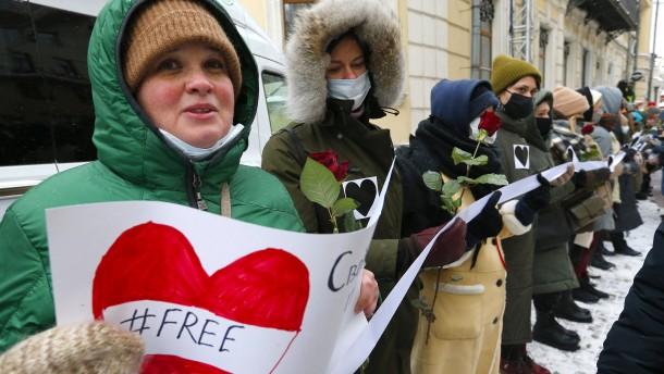 Mahnwachen für Nawalnyj in Moskauer Hinterhöfen