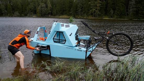 Das Hausboot-Camper-Fahrrad