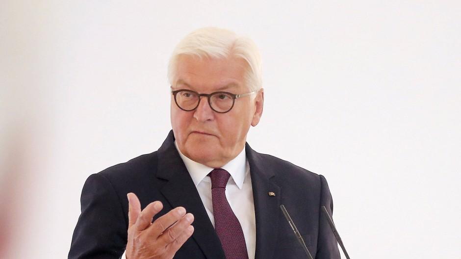 """Bundespräsident Frank-Walter Steinmeier beim Auftakt der Gesprächsreihe """"Geteilte Geschichte(n)"""" am Dienstag in Berlin"""