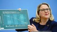 So einfach ist das: Umweltministerin Svenja Schulze (SPD) mit einer Illustration zum neuen Klimaschutzgesetz.
