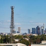 Ein 70 Meter hoher Richtfunksammler-Mast steht vor die Frankfurter Skyline.