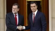 Ministerpräsident Mariano Rajoy (links) und der Vorsitzende der Sozialisten, Pedro Sánchez