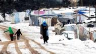 Schnee in syrischem Flüchtlingslager