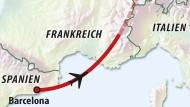 Die Route von Flug 4U 9525
