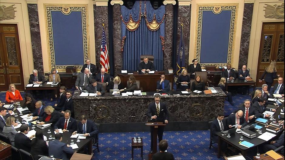Patrick Philbin, stellvertretender Anwalt des Weißen Hauses, während des Amtsenthebungsverfahrens gegen Präsident Trump im Senat