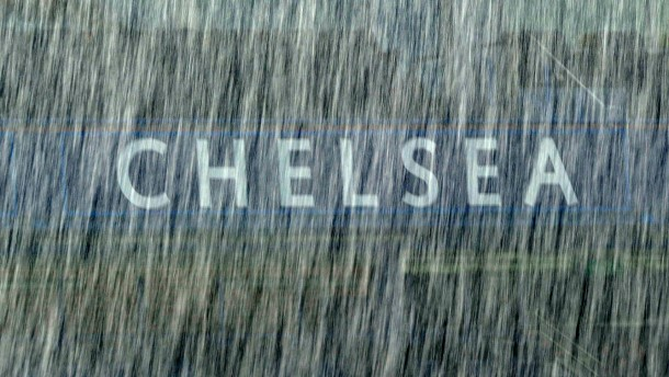 Rain falls at Chelsea's stadium during a Benfica training session in London