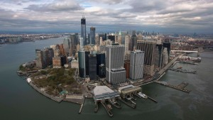 An aerial view of the Manhattan skyline as seen from Lower Manhattan in New York