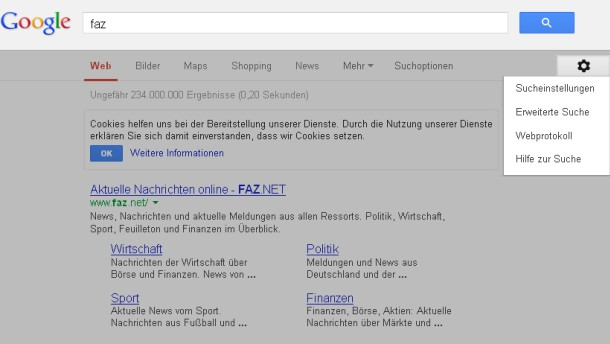 Bild / Screenshot / Google Webprotokoll