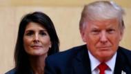 """Eine """"Jauchegrube der politischen Voreingenommenheit"""": UN-Botschafterin Nikki Haley verkündete den Rückzug Amerikas aus dem Menschenrechtsrat der Vereinten Nationen."""
