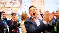 Große Freude über den Wahlsieg bei Wolodymyr Selenskyj.