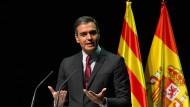 Spaniens Ministerpräsident Pedro Sánchez am Montag im Liceu-Theater in Barcelona