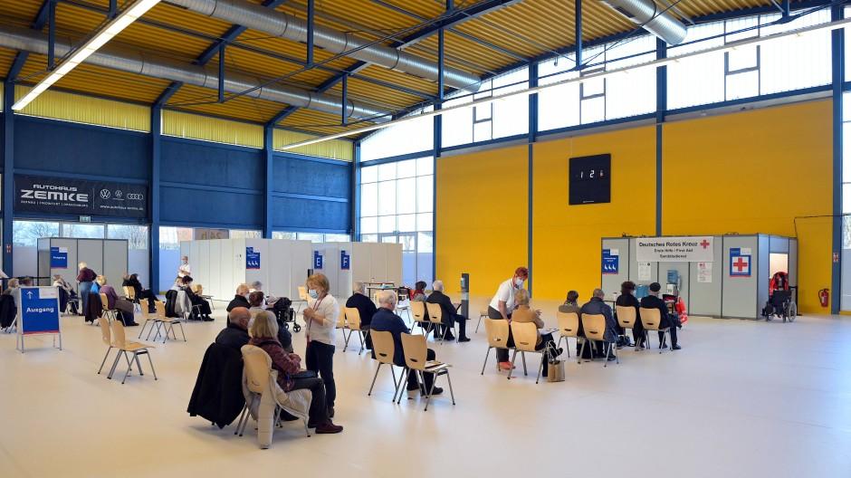 Viel Luft nach oben: Ein Impfzentrum in Brandenburg