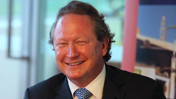 Fortescue Metals Chief Executive Officer Andrew Forrest smiles during a news conference in Perth