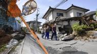 Ein aktuelles Bild aus der Stadt Mashiki zeigt die zerstörerische Kraft des Bebens.