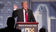 Donald Trump bei seinem Auftritt in Detroit