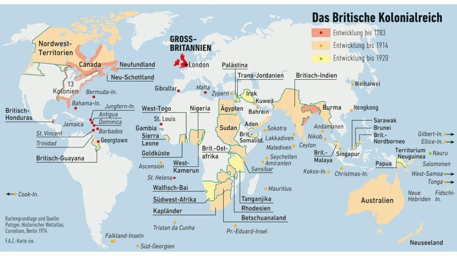 Das größte Seeimperium vor Anbruch des Raumfahrtzeitalters war das der Briten, und kulturell dominiert ihr Erbe bis heute den Planeten. Die hier nur umrandeten Gebiete gingen dem Empire vorzeitig verloren.