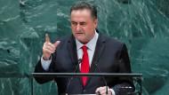 Israels Außenminister Israel Katz bei einer Rede vor der UN-Vollversammlung im September