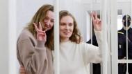 Darja Tschulzowa und Katerina Bachwalowa während der Verhandlung am 18. Februar