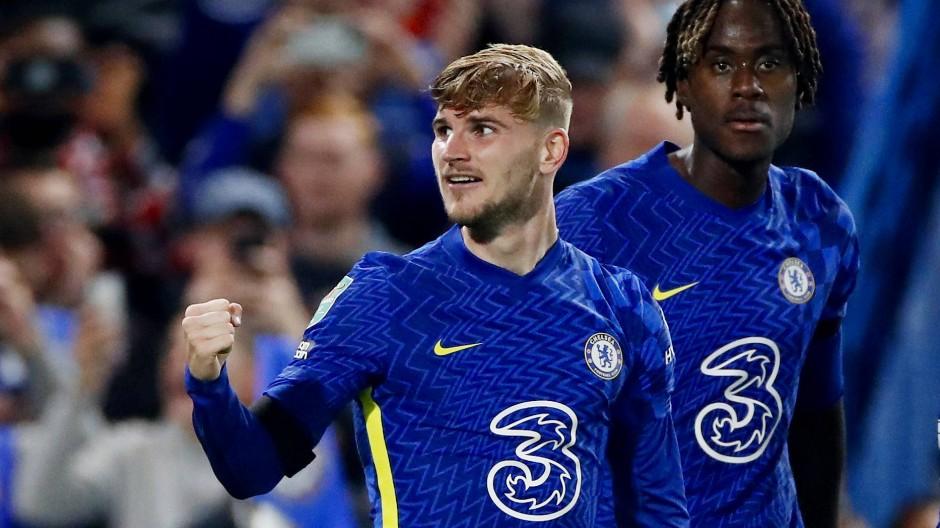 Timo Werner jubelt über seinen Treffer für den FC Chelsea.