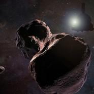 """Eine Computeranimation zeigt, wie """"New Horizons"""" an """"Ultima Thule"""" vorbeifliegen soll."""