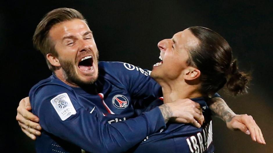 Meister vieler Klassen: die Superstars Beckham und Ibrahimovic freuen sich über den Titel in Frankreich