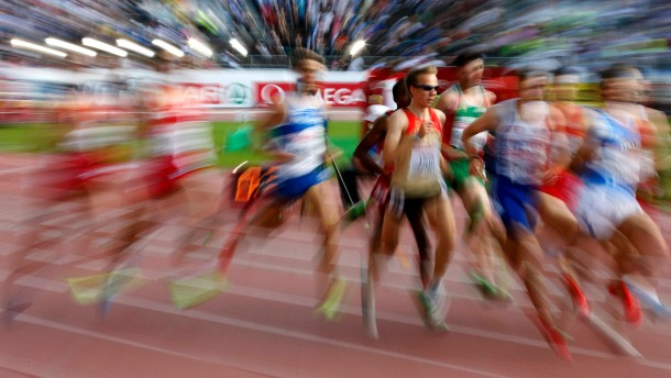 Athletes compete during the men's 1500 metres final at the European Athletics Championships in Helsinki
