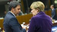 Merkel und Renzi während des EU-Gipfels am 17. Dezember in Brüssel