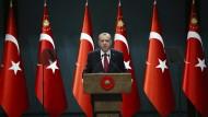 Recep Tayyip Erdogan bei einer Ansprache im Präsidentenpalast.