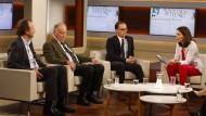 Redeten mit und über Alexander Gauland (2. v.l.): Eckart Lohse (Politischer Korrespondent der F.A.Z.), Bundesjustizminister Heiko Maas, Moderatorin Anne Will