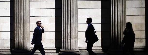 Haben es im Moment schwer: Hedgefonds-Manager im Londoner Finanzdistrikt