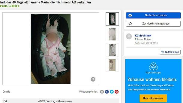 vater gesteht verkauf von kind auf ebay kleinanzeigen. Black Bedroom Furniture Sets. Home Design Ideas