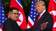 Präsident Trump im Juni 2018 bei einem Treffen mit dem nordkoreanischen Machthaber Kim Jong-un