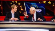 Markus Preiß, ARD-Korrespondent in Brüssel, diskutiert mit Edmund Stoiber, ehemaliger Bayerischer Ministerpräsident und CSU-Chef.