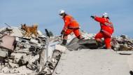Nur eine Übung: Hundeführer und ihre Spürhunde trainieren in Mecklenburg-Vorpommern das Aufspüren verschütteter Personen.