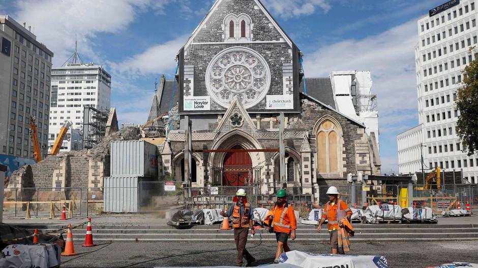 Die Christchurch-Kathedrale: Noch immer nicht wiederaufgebaut aufgrund des Erdbebens vor rund zehn Jahren.