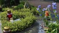 """Die Abbildung der """"Gorch Fock"""" prangt auf dem Grabstein der verunglückten Kadettin Jenny Böken auf dem Friedhof von Geilenkirchen in Nordrhein-Westfalen."""