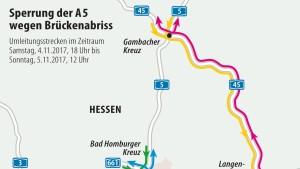 A5 nahe Frankfurt am Wochenende gesperrt